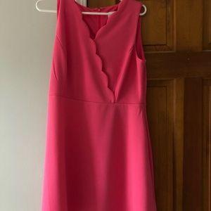 Elle pleated pink dress w/ scallop neck line
